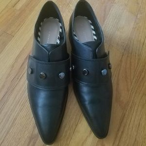 Zara LEATHER POINTED MONK STRAP SHOES